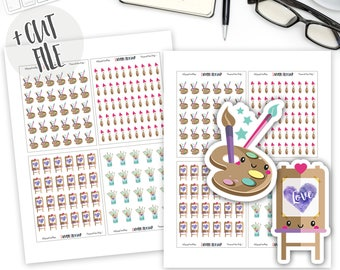 Printable Artist Planner Stickers, Paint Stickers, Painting, Kawaii Stickers, Planner Stickers, Bullet Journal Stickers, Cut File