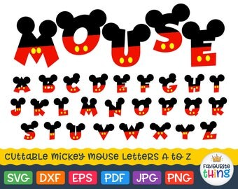 MICKEY FONT Svg Letters with Mickey Mouse Ears Svg Disney Alphabet Baby Boys Monogram Fonts for Cricut vinyl files Silhouette dxf png eps