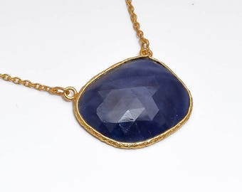 """Connector Necklace : 20"""" Genuine Natural Blue Sapphire Uneven Gemstone 925 Sterling Silver Chain Necklace Gift for HER With Gold Plating"""