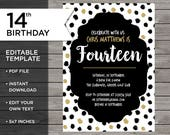 14th Birthday Invitation,...