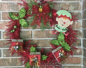 """18"""" Winking Elf Holiday Christmas Door Wreath or Wall Decor"""