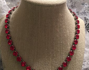 Swarovski 8mm light siam red necklace and earring set