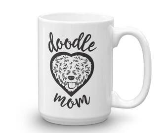 Doodle Mom Mug / Goldendoodle Mug / Dog Mom / Goldendoodle Heart / made in the USA Coffee Cup Mug