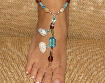SeaShell Barefoot Sandals, Feet Jewelry, Footless Sandals, Feet Thongs, Beach Shoes, Ankle Bracelets, Beach Wedding Barefoot Sandals