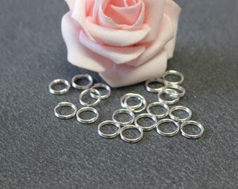 x 150 double rings metal silver 8 mm x 0.7 mm AP94
