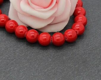 20 PEJ189 Red 8 mm mashan jade beads