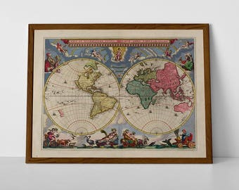 Old Map of The World | Historic Atlas of the Globe | Vintage World Globe from 1600's showing the atlas, poster 'Mapamundi' | Giclée