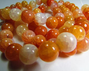 set of 10 beads 10 mm cracked Agate
