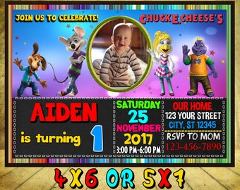 Chuck E Cheese Birthday Invitation, Chuck E Cheese Invitation, Chuck E Cheese Invite, Chuck E Cheese, Chuck E. Cheese Themed Invitation