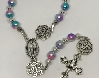 Multicolored Roman Catholic One Decade Rosary