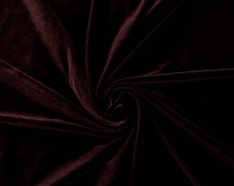 Grace BURGUNDY Stretch Velvet Fabric by the Yard, Half Yard, Bolt and Wholesale - SKU 5000