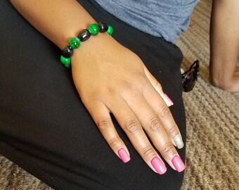 Green and Black Beaded Bracelet