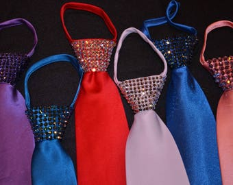 Rhinestone zipper ties
