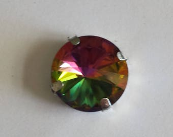 1 cabochon round glass rhinestones set vitrail medium - 16mm