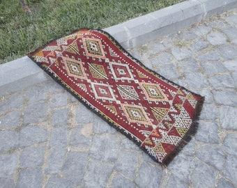 Door mat,entrance rug,brocaded rug,outdoors rug,hand made Turkish rug,vintage rug,36'' x 16''