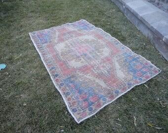 FREE SHIPPING !Oushak rug,Area rug,boho rug,living room rug,Turkish vintage rug,hand woven  rug,muted color rug,81'' x 52'' cottage decor !
