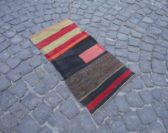 FREE SHIPPING !!Kilim rug,hand made rug,rustic decor,Turkish vintage rug,35'' x 19'' ,interior design,wall rug,flat woven rug,piless rug
