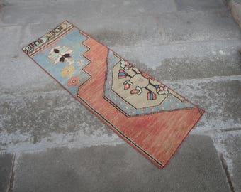 Turkish vintage rug FREE SHIPPING ! Door mat,entrance rug,shabby rug,outdoors rug,hand made Turkish rug,vintage rug,45'' x 16'' inches