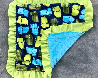 Green and Blue Hippo Minky Blanket