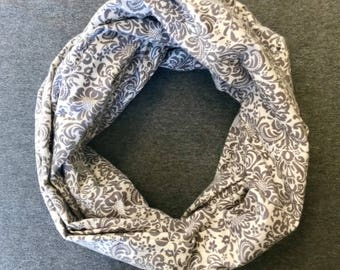 Gray and White Paisley Infinity Scarf