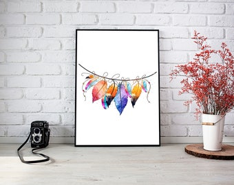 Boho Style Feather Watercolour Print