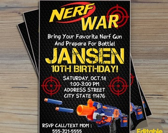Instant Download-Nerf Invitation,Nerf Party Invitation,Nerf Birthday,Nerf Invite,Nerf Birthday Invite,Nerf Gun Invitation