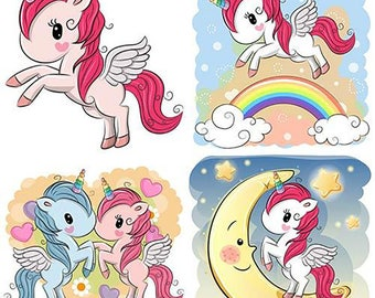Cute unicorns, EPS, JPG, fully editable vectors, for use in many articles, mugs, T-shirts, cards, ETC.