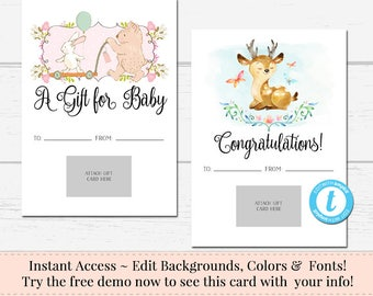 Printable Gift Card Holder, DIY Gift Card Holder, Instant Download, Business Templates, DIY Voucher, DIY Card, Gift Card Holder, Baby Shower
