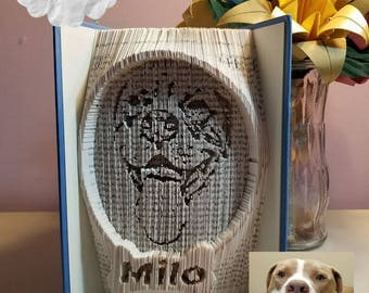 Custom Dog Portrait Book folded art - book folding - combo cut and fold -custom made
