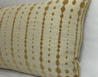 "13 x 35"" Retro Midcentury Modern Gold Chenille Lumbar Pillow Cover - Mid Century Modern Accent Pillow - Designer Throw Pillow - Reverse Cont"