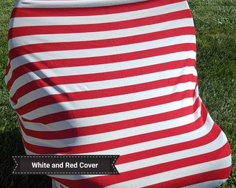 Red and White Multi-Use 4 in 1 Baby Car Seat Cover/Nursing Cover