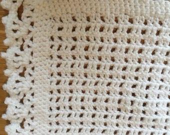 Handmade White Crochet Blanket/ Baby Blanket/Shawl/Baby Gift