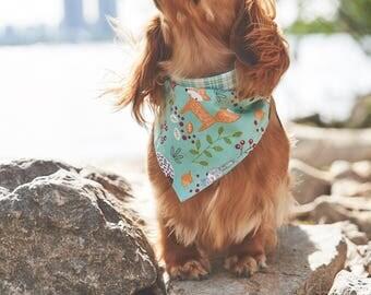 Dog Bandana | Double-sided | Blue Forest  | Free Shipping to Canada