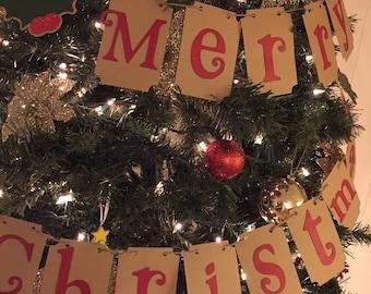 Merry Christmas Banner, Christmas Banner, Christmas Tree Banner, Christmas Decor