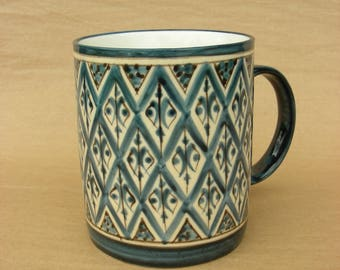 Coffee Mug in Lozenges Blue