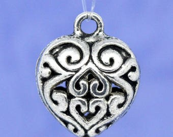 16x13mm openwork heart pendant