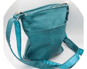 Crossbody Bag - Teal, Blue, Animal, Crocodile, Faux Leather, Handmade, Handcrafted