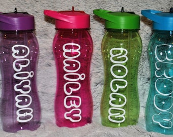 Personalized Water Bottles | Personalized Bubbles |  BPA Free Bottle with Flip Lid and Straw
