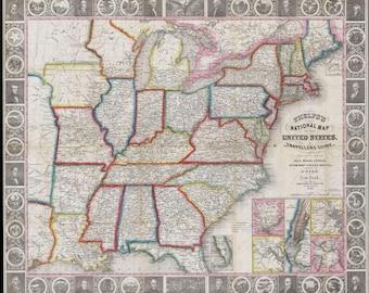 Antique us map Etsy