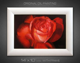Painting on canvas Flower painting Oil painting ORIGINAL PAINTING Small canvas art Rose painting Flower wall art Gift for her Realism Framed