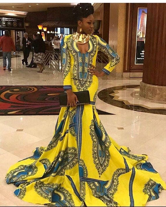 Yellow African Dress African Prom Dress African Women's