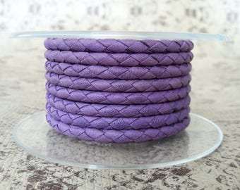 Purple 4 mm braided leather round cord of high quality European