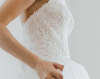 Strapless lace wedding dress