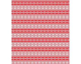 Christmas Wrapping Paper. Patchwork / Fairisle design. Double-sided.