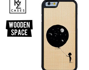 Wooden Phone Case, Space Phone Case, Wooden iphone Case, Balloon Phone Case, iPhone 7 Case, iphone 6, Space Case, Gift for Her, iPhone 6s