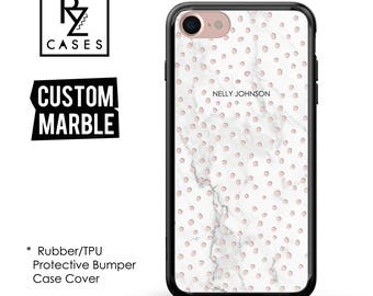 Marble Phone Case, Marble iPhone 7 Case, Gift for Her, Gift For Mom, iphone 6 case, Personalized Gift, 7 Plus, 6S, Rubber, Bumper