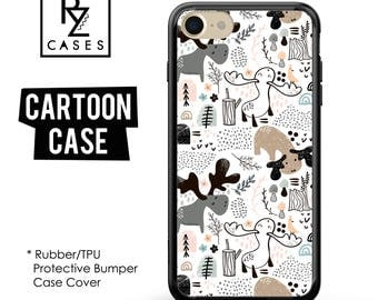 Deer Phone Case, Winter Phone Case, Cartoon Phone Case, iPhone 7, Animal, Gift for Her, iPhone 7 Plus, iPhone 6S, Rubber, Bumper