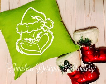 Grinch Decorative Pillow Cover, grinch pillow, how the grinch stole christmas, christmas pillows, christmas spirit, decorative pillows