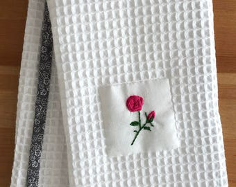 Handmade hand towel with fuchsia pink roses motif hand-embroidered by Apples N' Thyme