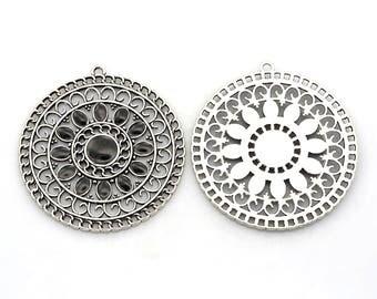 x 1 pendant filigree and enamel, black, 56x52mm: BM0008-N